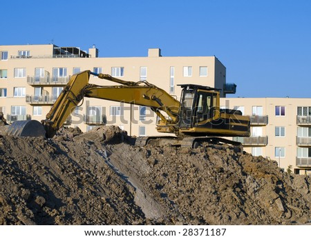 Excavator on the construction area
