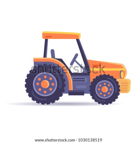 Excavator tractor vehicle isolated on white background. Car in game appliance,  illustration of bulldozer in flat style design. Transport loading and uploading device, machinery constructor