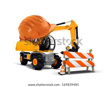 Excavator with Hard Helmet and Barrier
