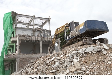 Excavators at a demolition site