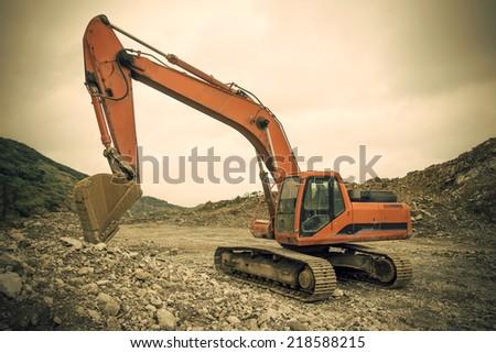 Excavators work - stock photo