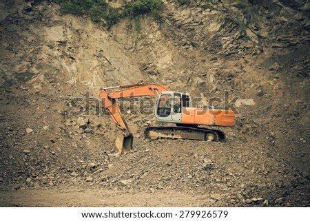 Excavators work - stock photo