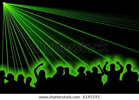Excelent green laser party at the club with people. - stock photo
