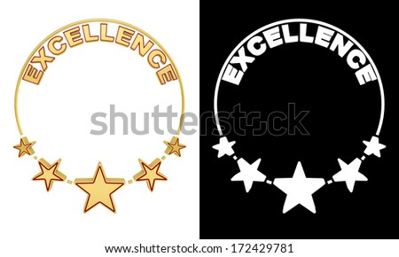 Excellence award with five stars with alpha matte for easy isolation - stock photo