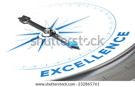 Excellence background concept. Compass needle pointing a blue word, decorative image suitable for left bottom angle of a page. - stock photo
