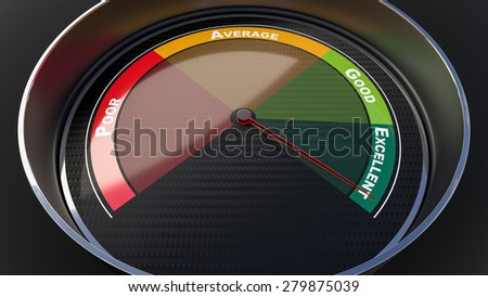 Excellence concept with tachometer gauge. Render image - stock photo