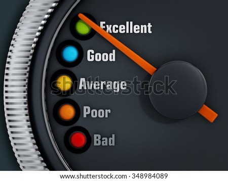 Excellency levels speedmeter with the needle pointing excellent - stock photo