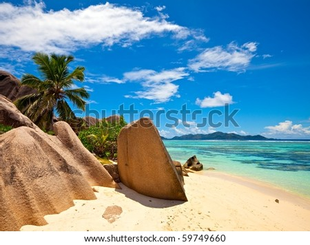 Excellent beach with a big stones, Seychelles, La Digue island - stock photo