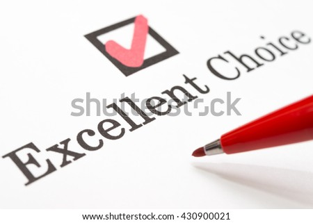 Excellent Choice check boxes - stock photo