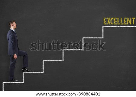 Excellent Concept on Blackboard - stock photo