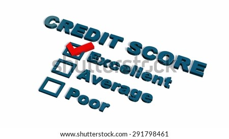 excellent Credit Score Text - isolated on white background