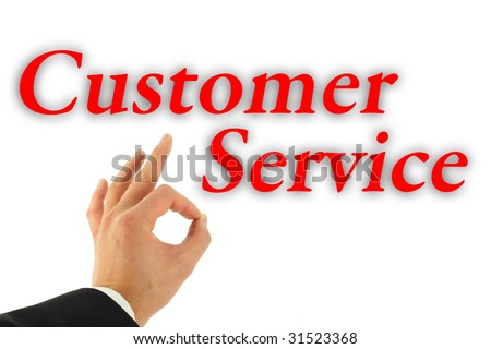 Excellent Customer Service concept with hand okay sign isolated on white - stock photo