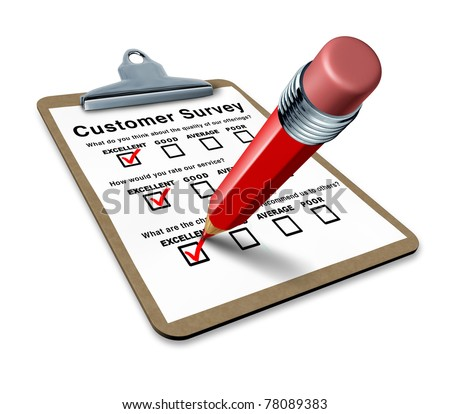 excellent customer survey on a clipboard representing a very good service questionnaire for feedback and quality control input to better serve the clients. - stock photo