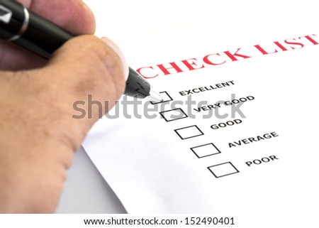 Excellent experiment check box in check list survay - stock photo