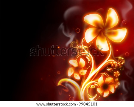 excellent fire flower on red background - stock photo