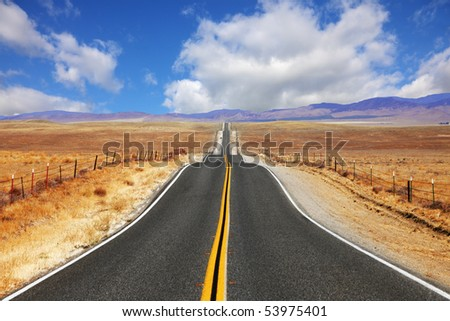 Excellent highway in California. Steppe and clouds - stock photo