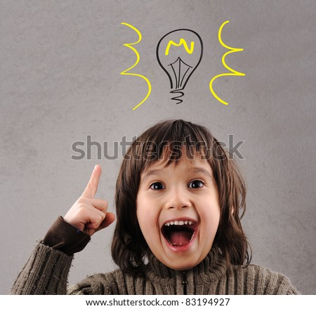Excellent idea, kid with illustrated bulb above his head - stock photo