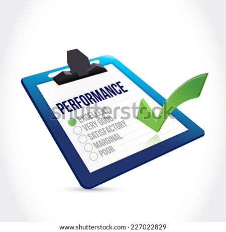 excellent performance clipboard checklist illustration design over a white background - stock photo
