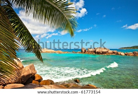 Excellent seascape view with a big stones and palmtree, Seychelles, La Digue island
