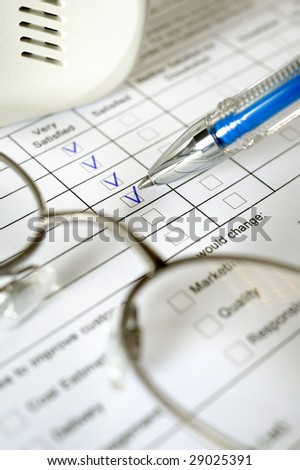 Excellent service survey completion form - stock photo
