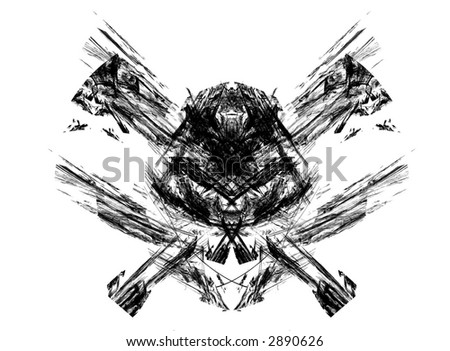 Excellent skull / pirates symbol made from fractals set on a white background - stock photo