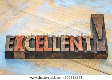 excellent word  abstract in vintage letterpress wood type printing blocks stained by color inks - stock photo