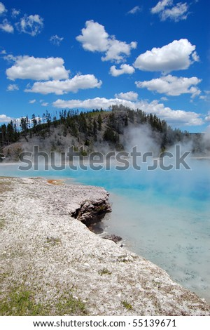 Excelsior Geyser at Yellowstone National Park - stock photo