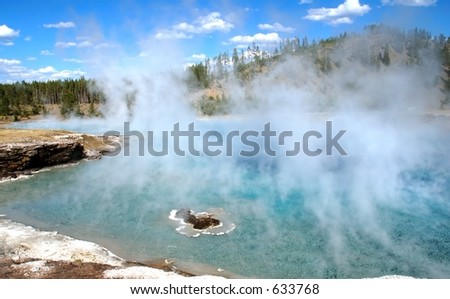 Excelsior Geyser Steam - stock photo