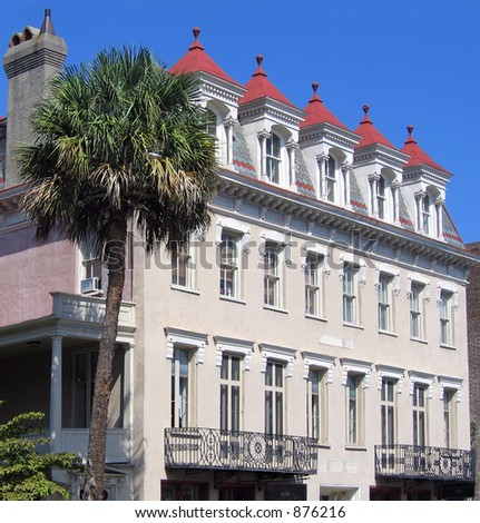 Exceptional Second Empire style structure with Mansard roof, Charleston, SC - stock photo