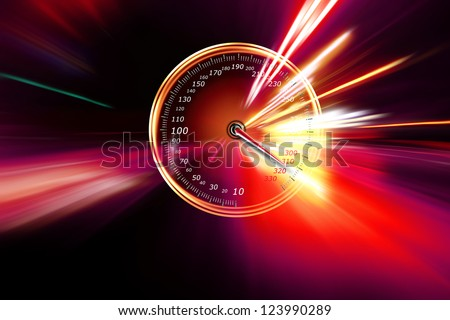 excessive speed on the speedometer - stock photo