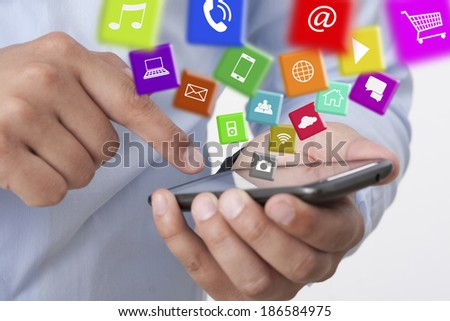 exchange apps with a smart phone - stock photo