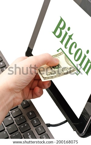 exchange cash to bitcoin cryptocurrency - stock photo