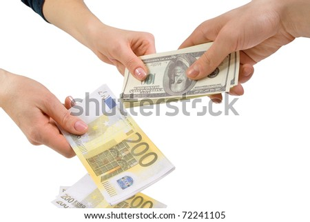 Exchange euro for dollars - stock photo