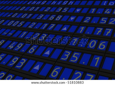 Exchange Index fInance screen 3d render - stock photo