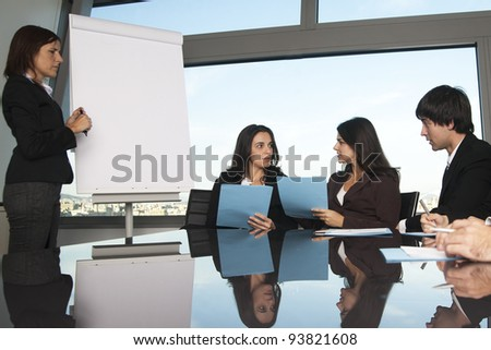 Exchange of ideas during training - stock photo