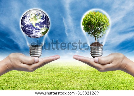 Exchange planet bulb and tree bulb in saving world concept, Elements of this image furnished by nasa. - stock photo