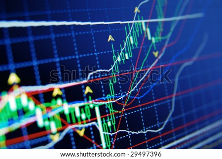 Exchange rate chart on computer screen - stock photo