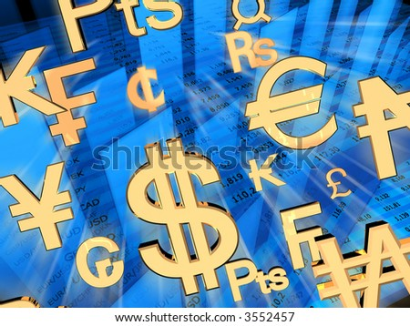 Exchange rates. 3d rendered illustration. - stock photo