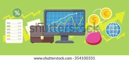 Exchange rates design flat concept. Exchange icon, currency and money exchange, foreign exchange, currency rates, business finance, money financial, web market, banking infographic. Raster version - stock photo