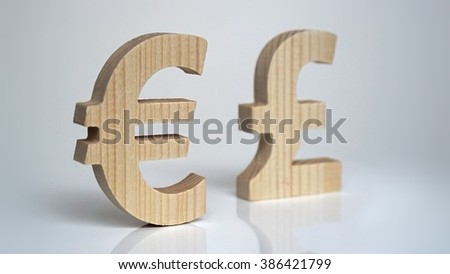 Exchange rating. Currency sign Euro, Pound. - stock photo
