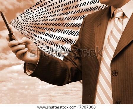 Exchanging global binary code - stock photo