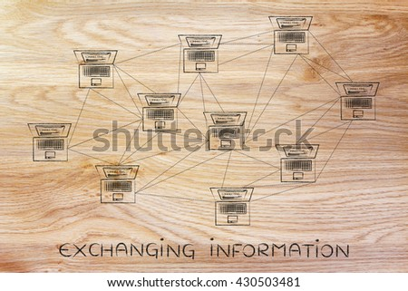 exchanging information: computer network with multitude of connections creating a low poly style pattern - stock photo