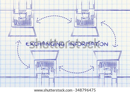 exchanging information: hands typing on laptops with arrows for communication and networking - stock photo