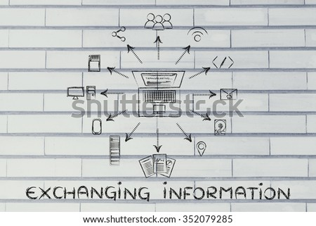 exchanging information: laptop transferring data to different devices, storage or sharing services - stock photo