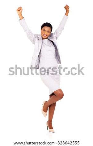 excited african businesswoman celebrating success isolated on white - stock photo