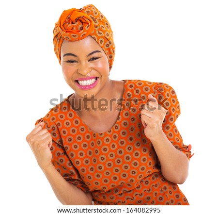 excited african girl in traditional clothes - stock photo