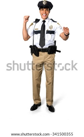 Excited African young man with short black hair in uniform celebrating - Isolated