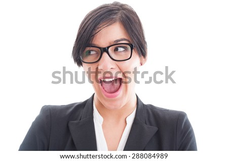 Excited and enthusiastic business woman face. Sexy businesswoman face acting surprised - stock photo