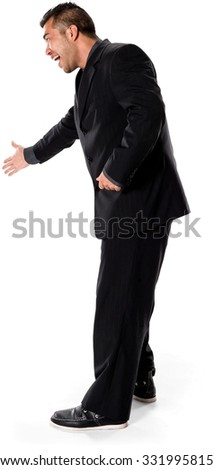 Excited Asian man with short black hair in business formal outfit offering handshake - Isolated