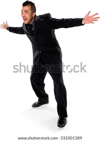 Excited Asian man with short black hair in business formal outfit with arms open - Isolated